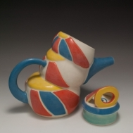 """""""Time I Will Never Get Back"""" ceramic teapot by Sue McLeod, 2010"""