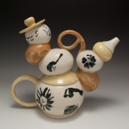 """Expression Dimension"" ceramic teapot by Sue McLeod, 2010"