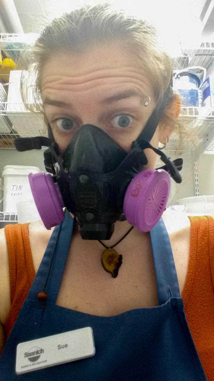 Sue wearing respirator