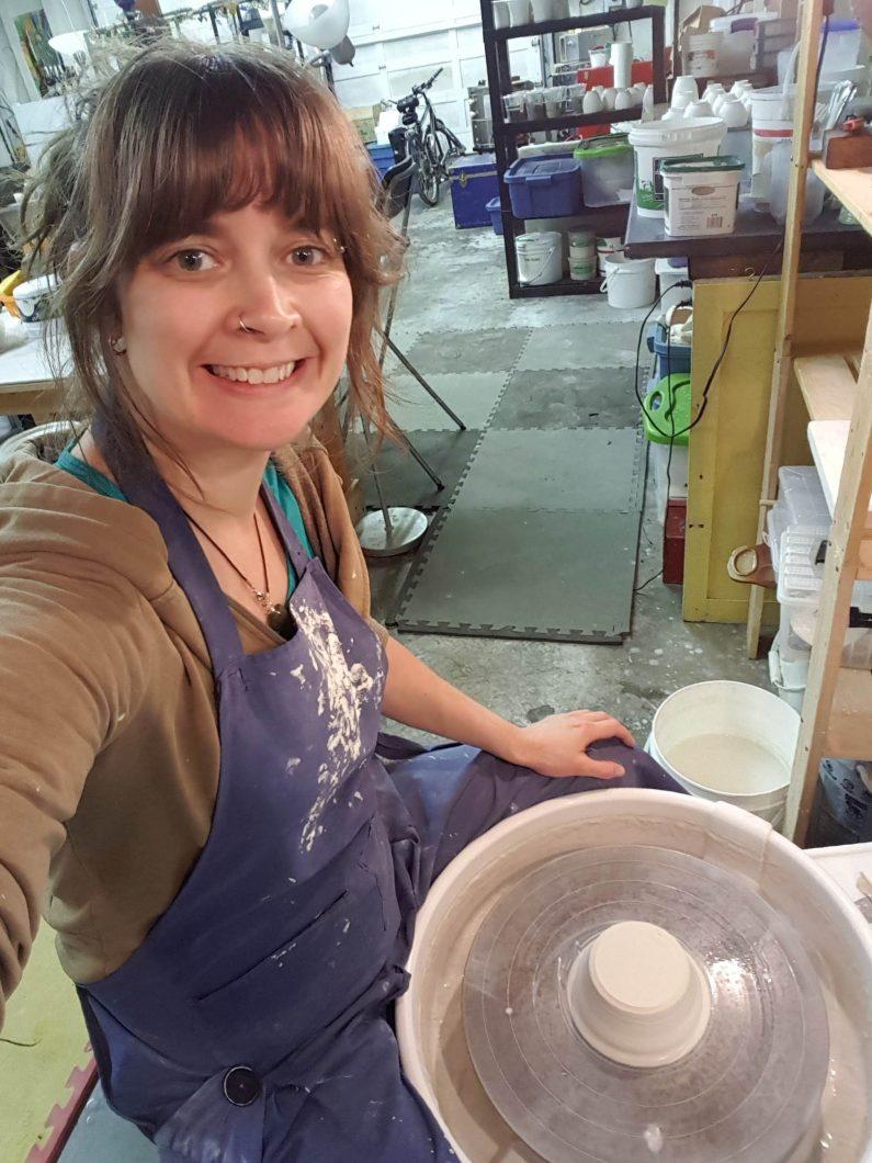 Sue in the pottery studio