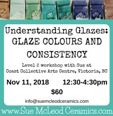 Understanding Glazes: Glaze Colours and Consistency – workshop Nov 11, 2018